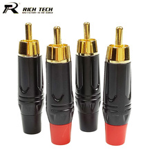 10pcs/lot RCA Male Plug Gold Plated RCA Connector Audio Speaker Plug Adapter 5 Pairs Red+Black RICH TECH Wholesaeles(China)
