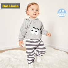 Balabala Infant Baby Boy Girl 2-Piece Fleece-Lined Thermal Hooded Sweatshirt + Joggers Set for Winter Newborn Baby Clothing Set(China)