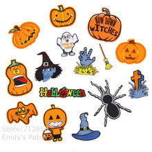 New arrival 10 pc Halloween Pumpkin Broom Embroidered patches iron on cartoon Motif Applique fabric clothing dress Diy accessory
