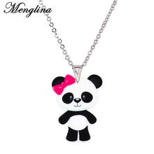 Menglina Fashion Acrylic China Panda Necklaces & Pendants For Girl Metal Chain Necklace Bow Panda Resin Flatback Jewelry Chocker