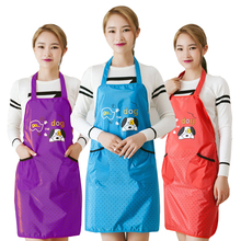 100% Polyester Fiber Korean Style Home Aprons For Women Waterproof Dog Cartoon Bib Chef Kitchen Apron Cleaning