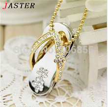 JASTER metal crystal slippers USB Flash drive Memory stick usb Stick 4GB 8GB 16GB 32GB Pendrives  girl's gift beauty shoes