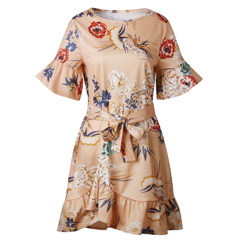 Lossky Summer Women Beach Dress 2018 Bohemian Floral Print Boho Dress O-Neck Short Sleeve Ruffle Mini Chiffon Dress With Belt 3