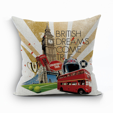 New Square colorful Home hot Decorative soft seat car Cushion Covers linen love London vintage bus cushion almohada L(333)(China)
