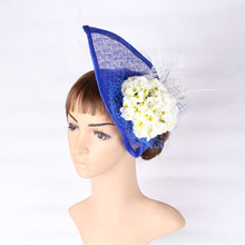 21 Colors teardrop shape derby royal blue fascinator hat women silk flower sinamay hair fascinator accessories with feather veil(China)