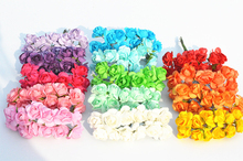 144PCS/LOT Multicolor optional Mulberry Paper Flower Bouquet/wire stem/ Scrapbooking artificial rose flowers Wedding decoration(China)