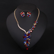 12 pcs/lot European and American fashion colored artificial gemstones exquisite crystal necklace sets jewelry wholesale