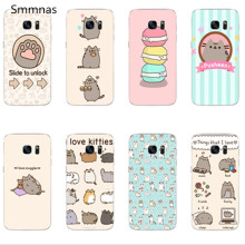 cute funny lovely Pusheen Cat Cover case For Samsung Galaxy s8 s8plus A5100 A7100 2016 A5200 A7200 2017 S5 S6 S7 Edge phone case(China)