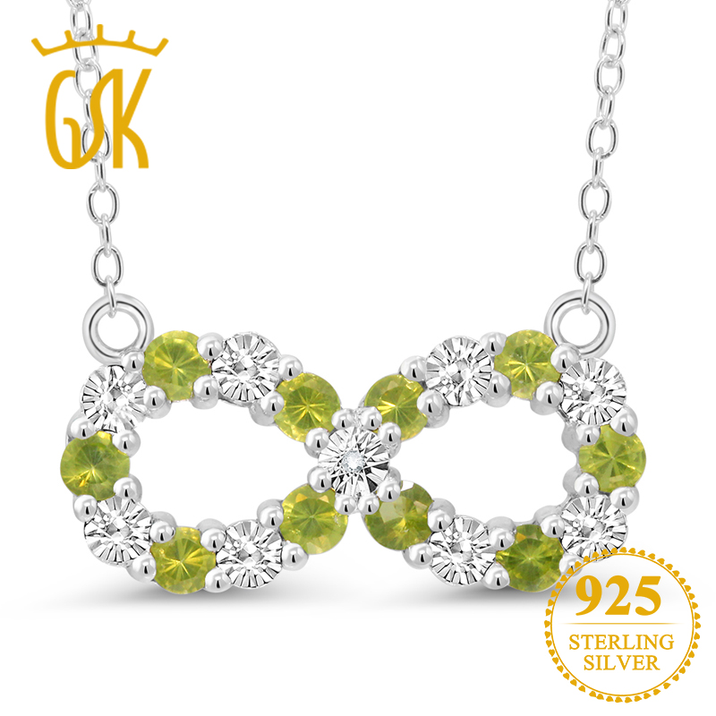 GemStoneKing Round Natural Peridot & White Diamond Accent Infinity Pendant Necklace 925 Sterling Silver Fine Jewelry For Women