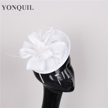 NEW ARRIVAL 17 colors women imitation sinamay fascinator hats white cocktail hats  bridal wedding headwear Derby occasion hats