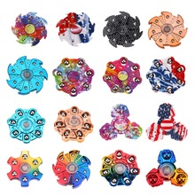Camouflage Fidget Spinner Hand Plastic Seven Flap Plastic Iron Steel Metal Bearing Anti-Stress Colorful Cube Toy EDC Hand Toy