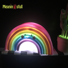 Novelty Smile Face Rainbow Led Night Lights Battery Night Lamps For Baby Room Nursery Living Room Decor Kids Christmas Gifts
