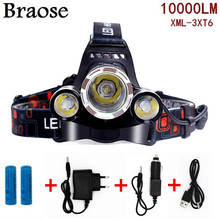 Cree 10000 Lumens Headlight XM-L 3XT6 LED Head Light 4 Modes Headlamp Lantern Hunting Head Flashlight +Car AC Charger + Battery