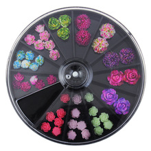 latest Japanese wheel nail art newest 3D Korea Trending Style Resin Roses acrylic Artificial flowers(China)