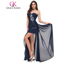 Grace Karin Long Evening Dress Short Front Long Back Strapless Chiffon High Split Red Navy Blue Special Occasion Dresses 2017(China)