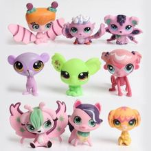 New style 10-20pcs/set LPS littlest pet shop doll ornaments head can move doll plastic ornaments birthday gift(China)