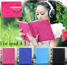 Magnetic Smart Cover With Stand Holder 2015 New Fashion High Quality Protection Skin PU Leather Case For Apple iPad 2 3 4