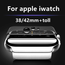 2.5D Full Cover For Apple iWatch 38mm 42mm  Screen Protector Plating Tempered Glass Arc Curved Edge Protective Film