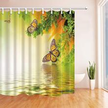 CHARM HOME Yellow Butterfly Polyester Fabric Bathroom