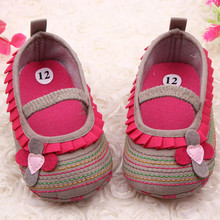 Cotton Cloth First Walker Four-Flower Baby Girl Striped Sole Shoes for Kids Cute Toddler Shoe(China)