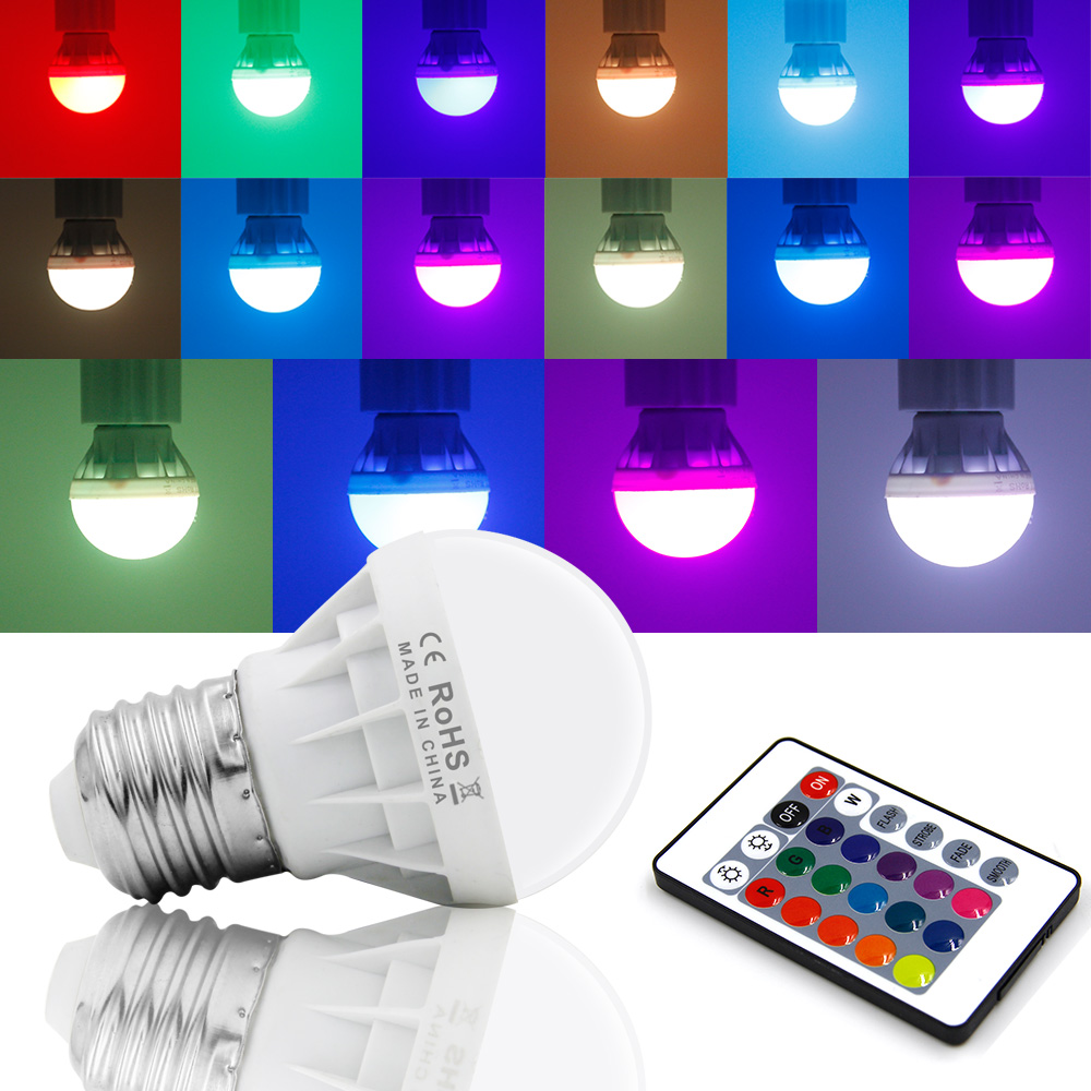 RGB LED Lamp E27 3W LED Bulb RGB Soptlight 85-265V Energy Saving 16 Color Change LED Lampara With IR Remote Brand NEW(China (Mainland))