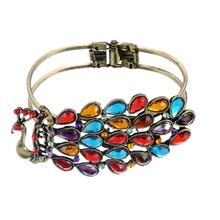 FUNIQUE Bohe Retro Peacock Bangles For Women Gifts Vintage Crystal Bracelets Fit Party Fashion Jewelry 19cm/ 21cm