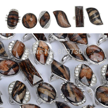 Lot 5pcs Vintage Style 2015 New Silver Plated Crystal Brown Color Resin Big Face Rings Women Men Charm Jewelry Gift