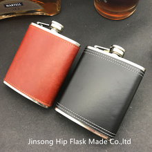 7oz Leather wrapped stainless steel hip flask ,can be engraved