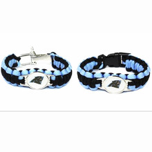 Hot Selling USA Football Fans Carolina Panthers Charm Paracord Survival Bracelet Friendship Outdoor Camping Bracelet 10pcs/lot(China)