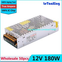 50pcs Single Output Switching power supply 12V 15A 180W Transformer 110V 220V AC To DC 12 V for 5050 3528 LED RGB Strip light(China)