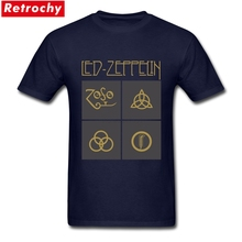 Led Zeppelin Logo Tshirts for Men Cock Rock Short Sleeves Crew-neck Soft Cotton Custom Print T-shirts Male UK Band Tees Shirt(China)
