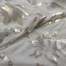 Natural White Silver Gold Metallic Jacquard Silk Facbric Textiles Chiffon Georgette(China)