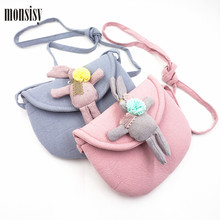 Monsisy 5PCS Lolita Rabbit Baby Handbag For Girl Shoulder Bag Children Wallet Cute Rabbit Toddler Coin Purse Kid Messenger Bag