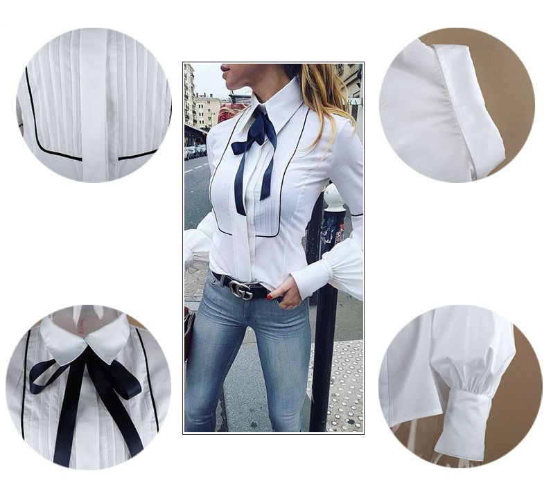 Office Bow Tie Blouse Women Lantern Sleeve White Button Necktie Shirts Female Elegant Work Shirt Casual Tops New 2018 Spring 10