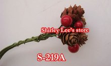 Wholesale--132 X Christmas Mini Pine Cone Clusters With Red Berries Pick(S-219A) (Free Shipping by Express)(China)