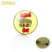 TAFREE 2017 fashion cute hippie school bus brooches cartoon children badge charms vintage kids gifts brooch pins jewelry H211(China)