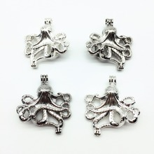 6pc Silver Plated Octopus Devilfish Design Trendy Necklace Jewelry Making Pearl Cage Locket Pendant Perfume Diffuser Fun Jewelry(China)