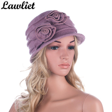 Lawliet Wool Cap Winter Beanies Cloche HatsWomen Vintage Style Warm Floppy Ladies Fedoras Mom's Skullies Bucket Hats Chemo Hat(China)