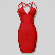 Free Shipping New Arrival 2016 Red Cage Cut Out Ryaon HL Vestidos Bandage Celebrities Dress Wholesale Dropshipping