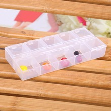 5 Colors Popular Transparent Plastic 10 Rectangle Compartment Storage Box Earring Ring Jewelry Bin Bead Case Container