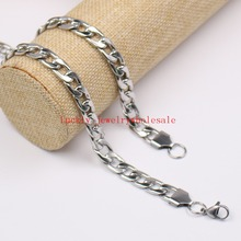 6mm 24'' Silver Polished Stainless Steel Flat NK Link chain Necklaces Women Men Fashion GIfts(China)