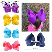 "Boutique 8"" Large Solid Grosgrain Ribbon Hair Bow Clips Barrette Bow For Women Girls Accessories"
