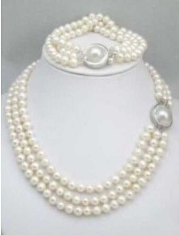 "stunning 8-9mm natural south sea white pearl necklace 18""-20"""