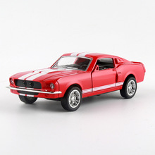 Alloy Racing Toy Car 1966 Ford Mustang GT350CR Model Cars 1:32 Door Open Rubber Tire Metal Body Toy Car for Children Collection(China)