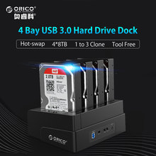 ORICO USB 3.0 to SATA 4 Bay External HDD Docking Station For 2.5&3.5 Inch HDD/SSD 4bay Hard Drive Cloner Function(China)