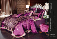 4/6/9pcs red Jacquard Satin bedding set king queen Luxury embroidery Silk quilt/duvet cover bed linen bedclothes set home textil