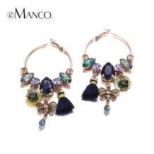 eManco 3 Colors Ethnic Bohemia Tassel Charms Hanging Drop Dangle Earrings for Women Seashells Crystal Ear Brand Jewelry