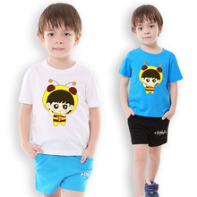Children Clothes Cartoon image Printed fashion short sleeve T-shirt boy clothes summer sports wear suit for boys casual kids 2-8(China)