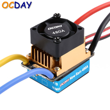 OCDAY 2-3 Lipo/6-9NiMH 480A Dual Mode Brush Speed Controller ESC Regulator With Cooling Fan For 1/10 RC Car