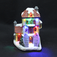 Polyresin Christmas decor mini figurine house village with red blue green and yellow led light battery opreated(China)